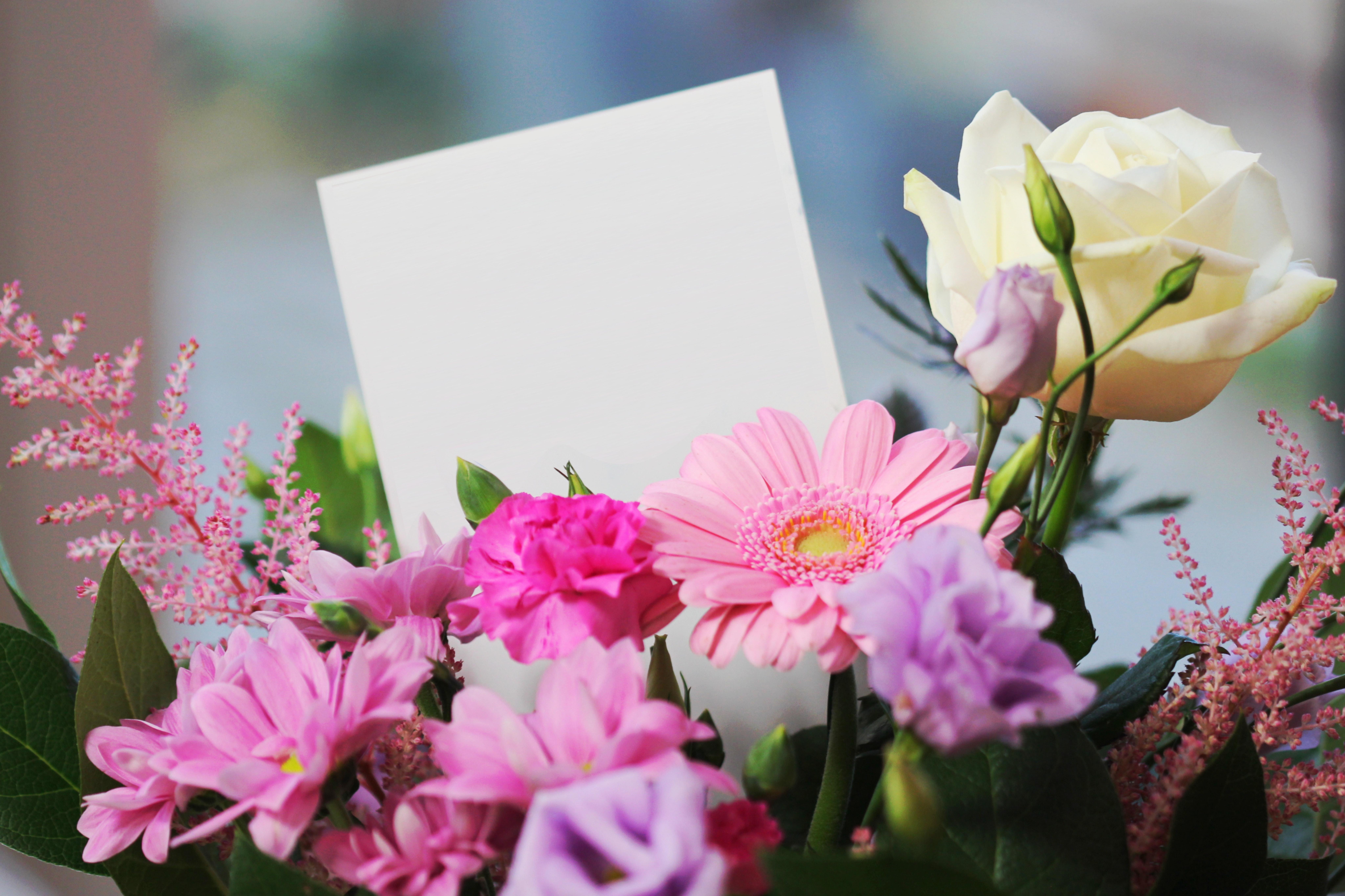 Blombukett med kort